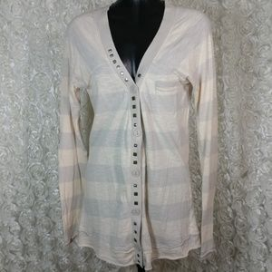 Free people button up studded cardigan stripe thin